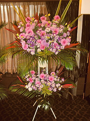 st012 スタンド花 薄紫系2段