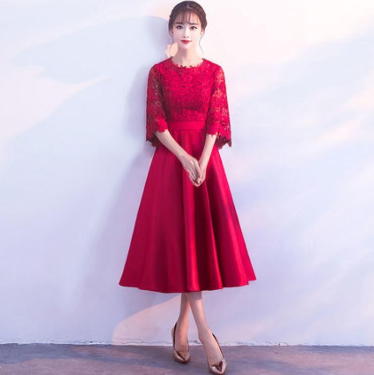 447b8692fcfe4 ドレス  3カラー  七分袖 ひざ丈 花柄 刺繍 セクシー エレガント 上品 ...