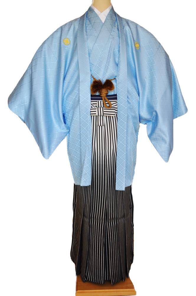 レンタル男性用【紋付袴】水色着物羽織と黒銀ぼかしの袴フルセットblue1[往復送料無料] - 画像2