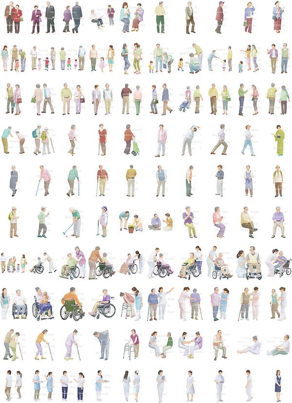 SketchUp素材シニアイラスト100個-淡い 4aa_024 - 画像3