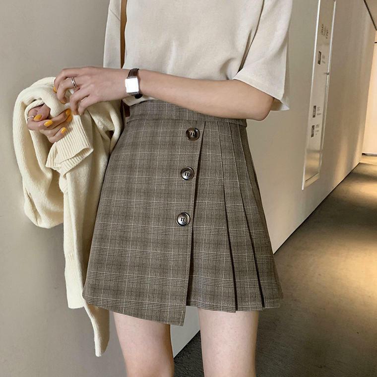 【送料無料】 アシンメトリーがお洒落♡ タータンチェック サイド プリーツ ミニスカート 巻きスカート キャロットスカート