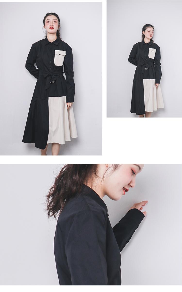 ゆったり大きめサイズ【秋冬】カジュアルドレスターンダウン襟ベルトポケットワンピース