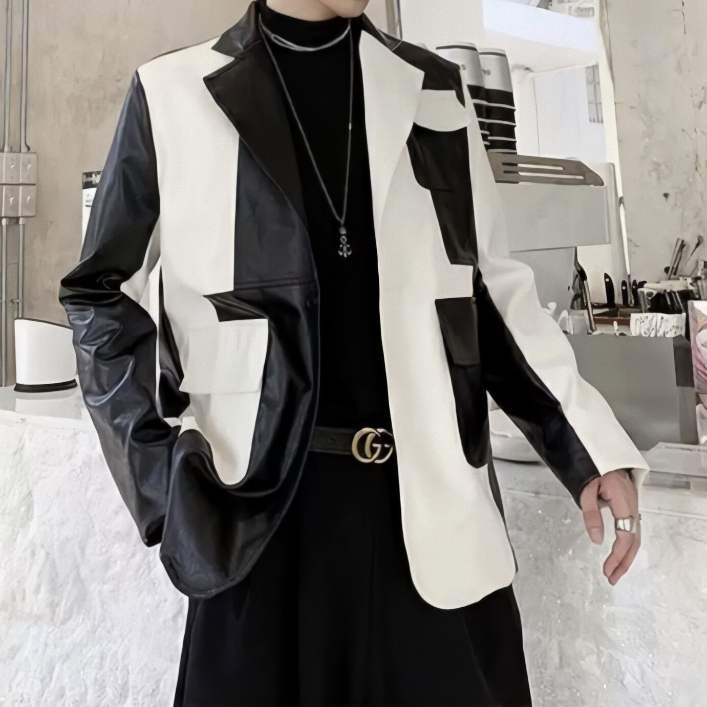 bicolor tailored jacket