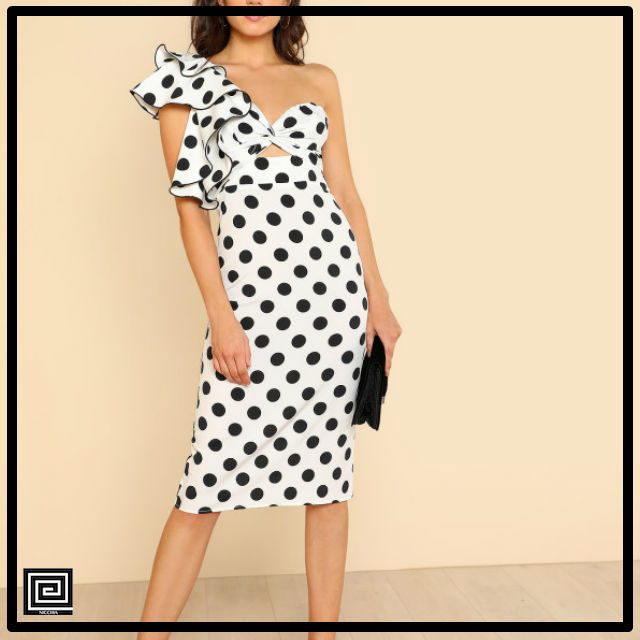 【即納・SALE】ツイストフロントラッフルディテールポルカドットドレス
