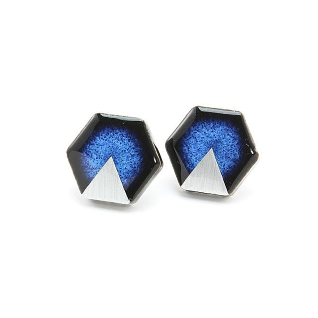 陶器 六角形 藍色×シルバー 月華 イヤリング&ピアス 伝統工芸品 美濃焼