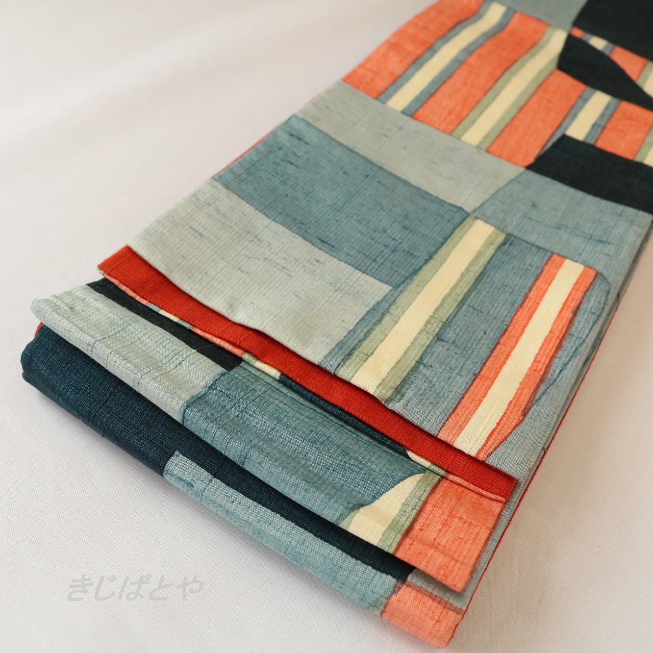 正絹紬 幾何学模様の半幅帯