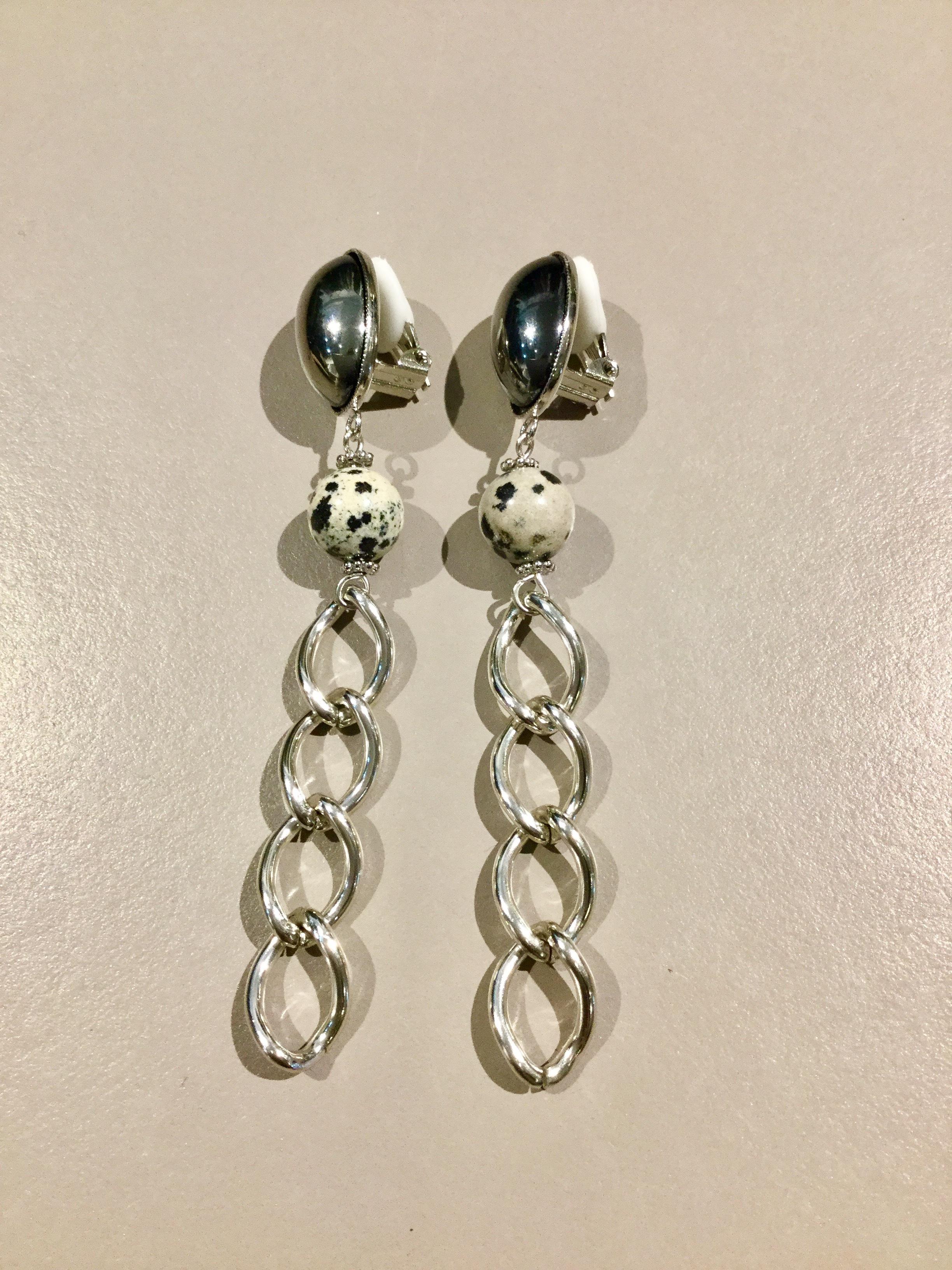 meow   chain earring (black silver)