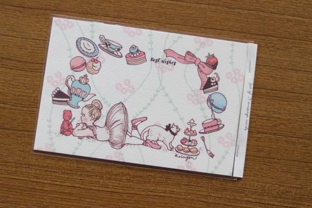 バレリーナとお菓子メッセージカード