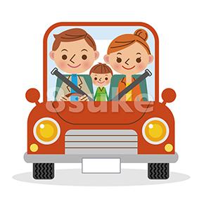 イラスト素材:マイカーでドライブを楽しむ3人家族(ベクター・JPG)