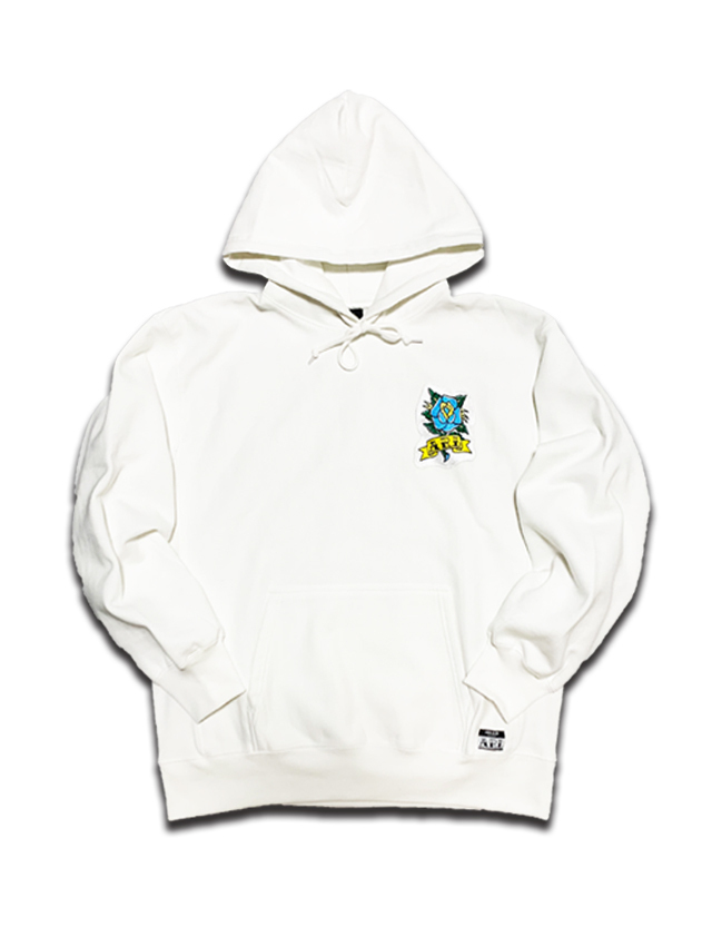 ROSE PATCH HEAVY WEIGHT HOODIE white