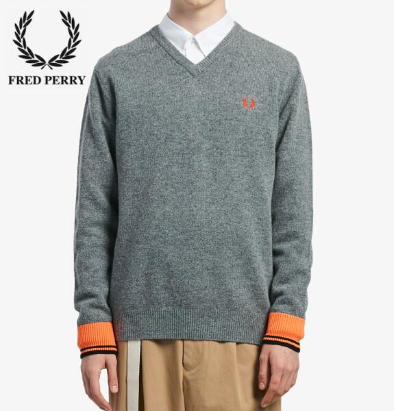 フレッドペリー Vネック ニット セーター メンズ FRED PERRY V NECK SWEATER K7600 GREY 正規販売店