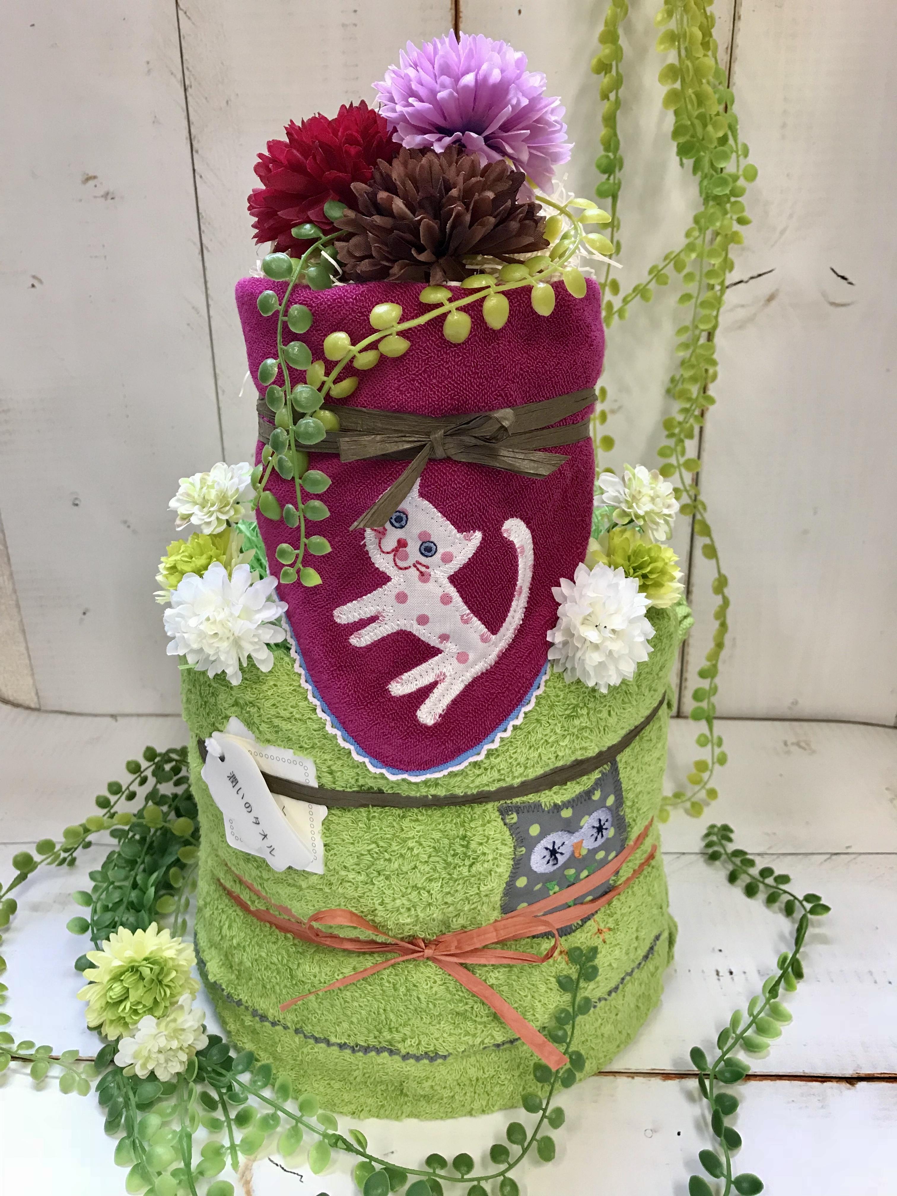 今治タオル おむつケーキ ねこ ハンカチ 付き   おむつケーキ  出産祝い ギフト オシャレ 個性的  かわいい  キャラクター