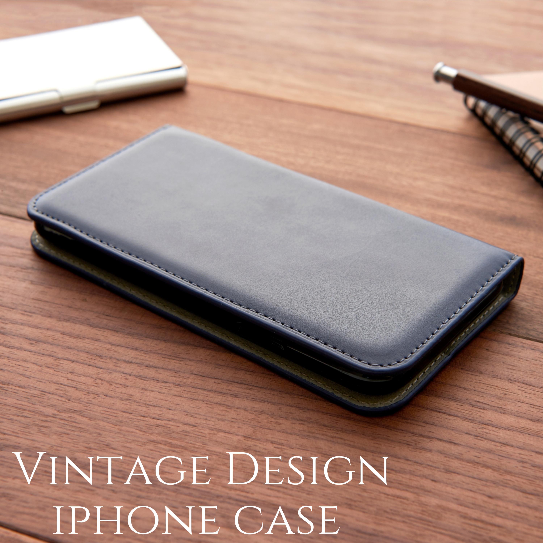 iphoneSE(第二世代) ケース 手帳型 おしゃれ iphone 11 Pro カバー シンプル iphone8 iphoneXR Xs max レザー アイフォン se2 手帳 マグネット スタンド スリム ビジネス メンズ ネイビー