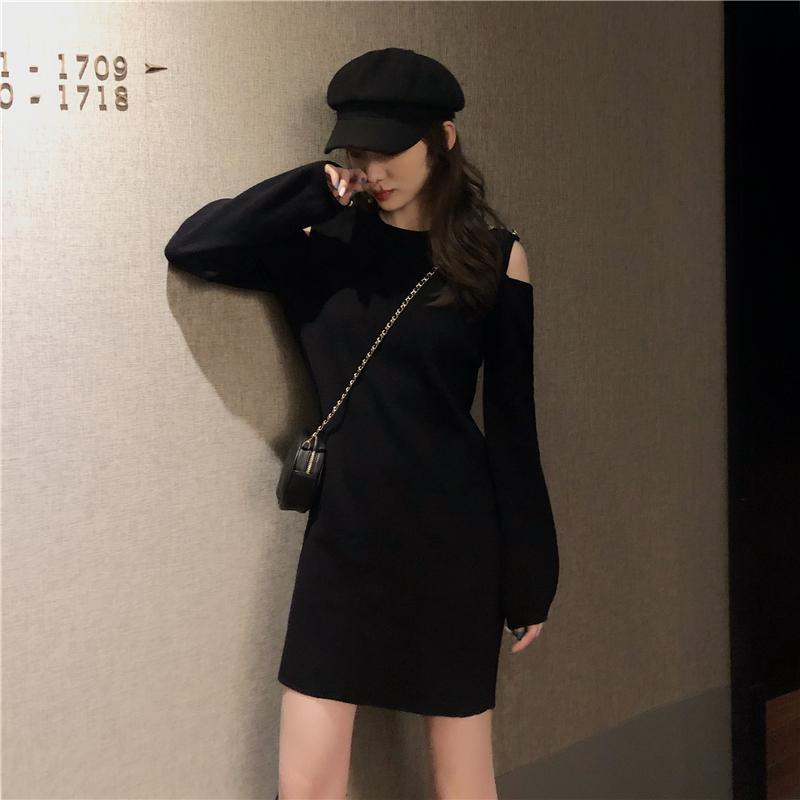 「ワンピース」人気upファッション個性オーペンショルダデザイン2色ニットセクシーワンピース