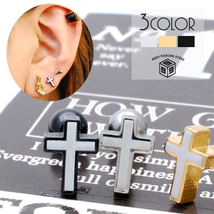 ボディピアス 16G 18G 魔除けの十字架 耳たぶ ハロウィン 軟骨ピアス 兼用 TPB043