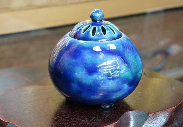清水焼 香炉  釉彩  (Kyo-yaki&Kiyomizu-yaki Incense burner)