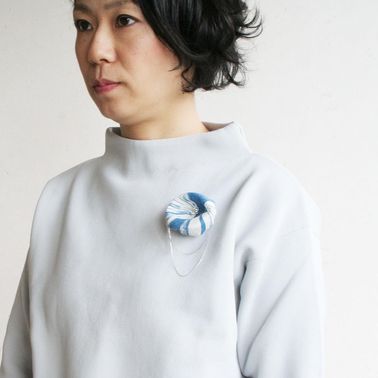 麻のコサージュ 〈Asagao〉Blue