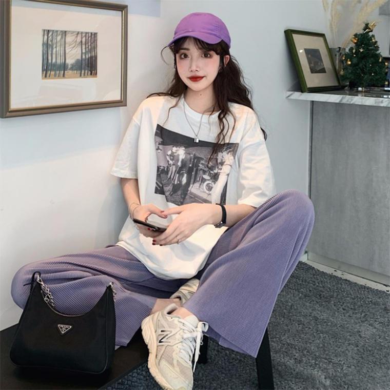【送料無料】 最旬カジュアルスタイル♡ メンズライク ゆるだぼ ビッグシルエット Tシャツ × ワイドパンツ セットアップ