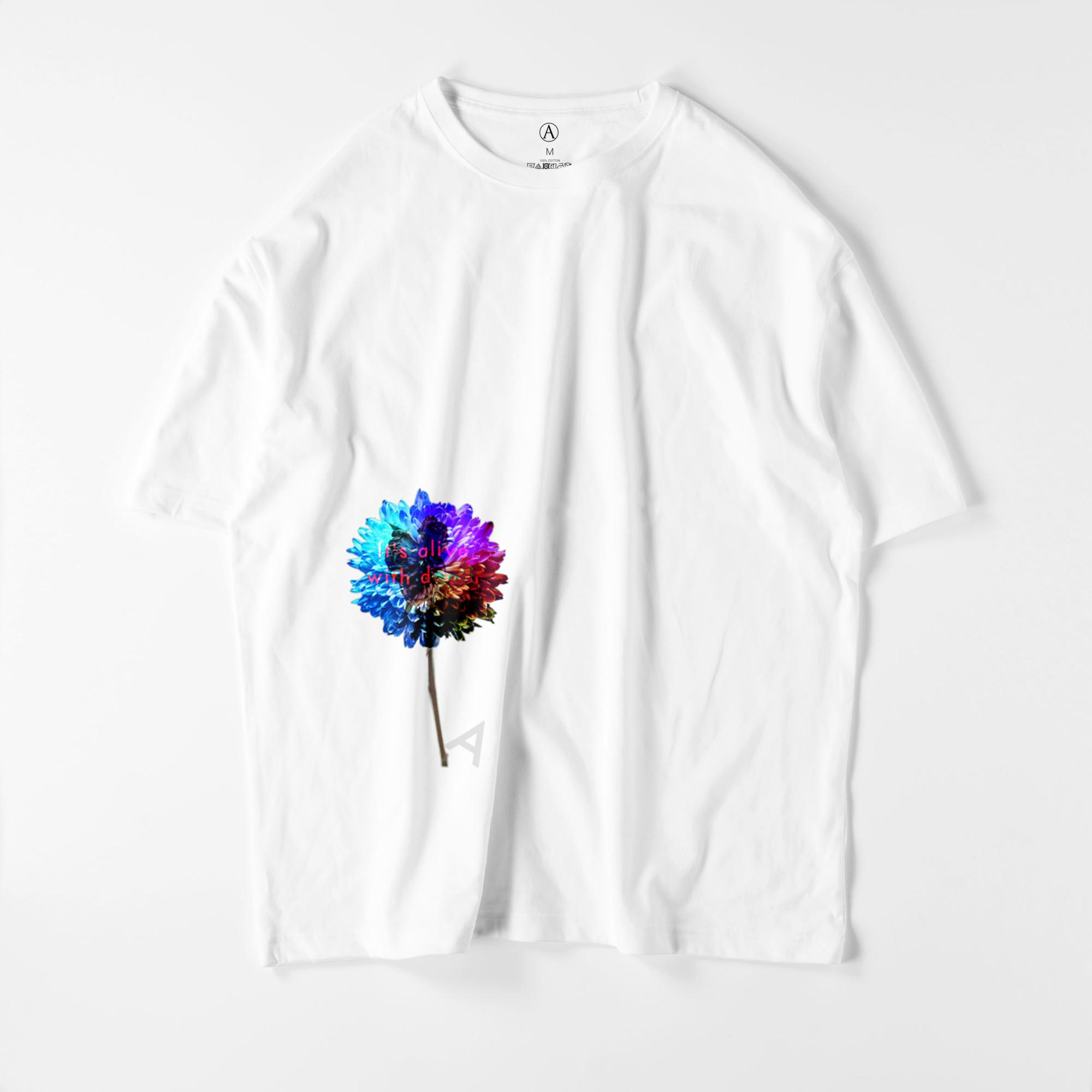 Flower-blue ビッグシルエットTシャツ ホワイト / Mens