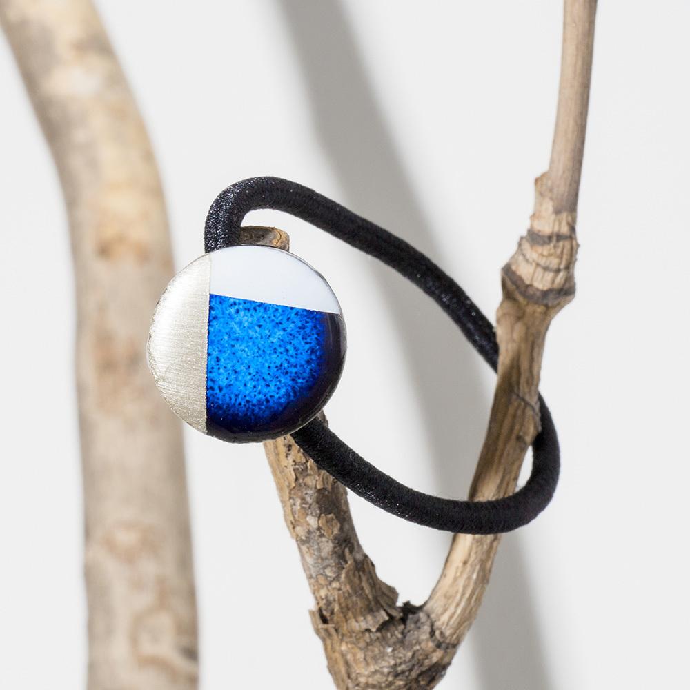 藍色 丸 陶器 モダンスタイル ヘアゴム 美濃焼