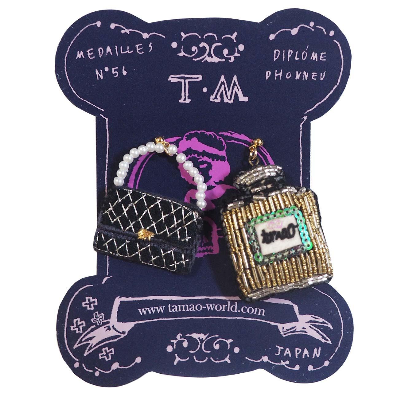 刺繍ピアス 香水瓶とハンドバッグ