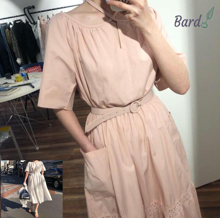 2019 夏 韓国ファッション可愛 気質 半袖 レディーズ カジュアル無地 ワンピース 合わせやすい