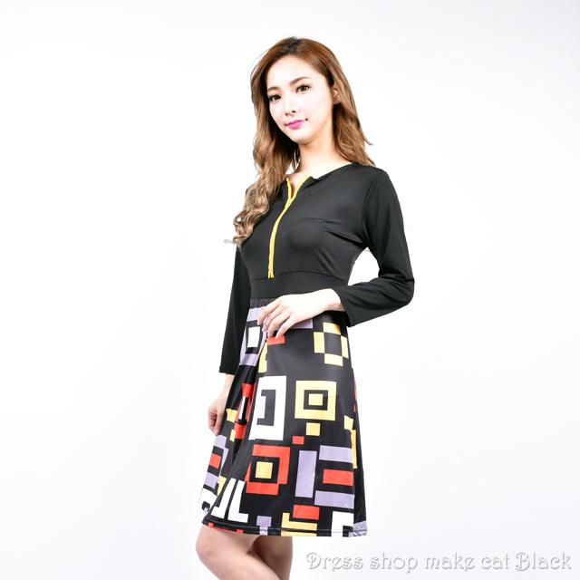 (フリーサイズ) 欧米風 フロントジップデザイン ストレッチミニワンピース  ¥5,713- (税込)  ドレス パーティー  010