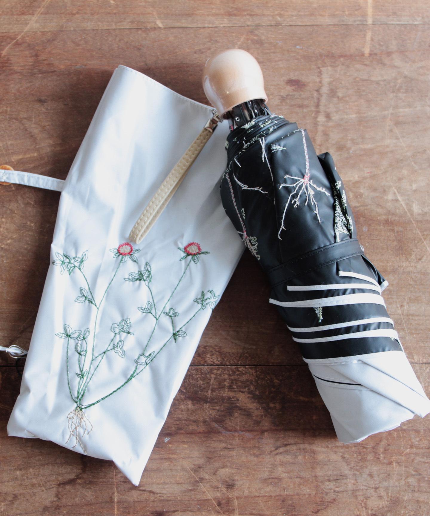 【ボタニカル刺繍】晴雨兼用日傘(折りたたみ )(ELS47-mini)