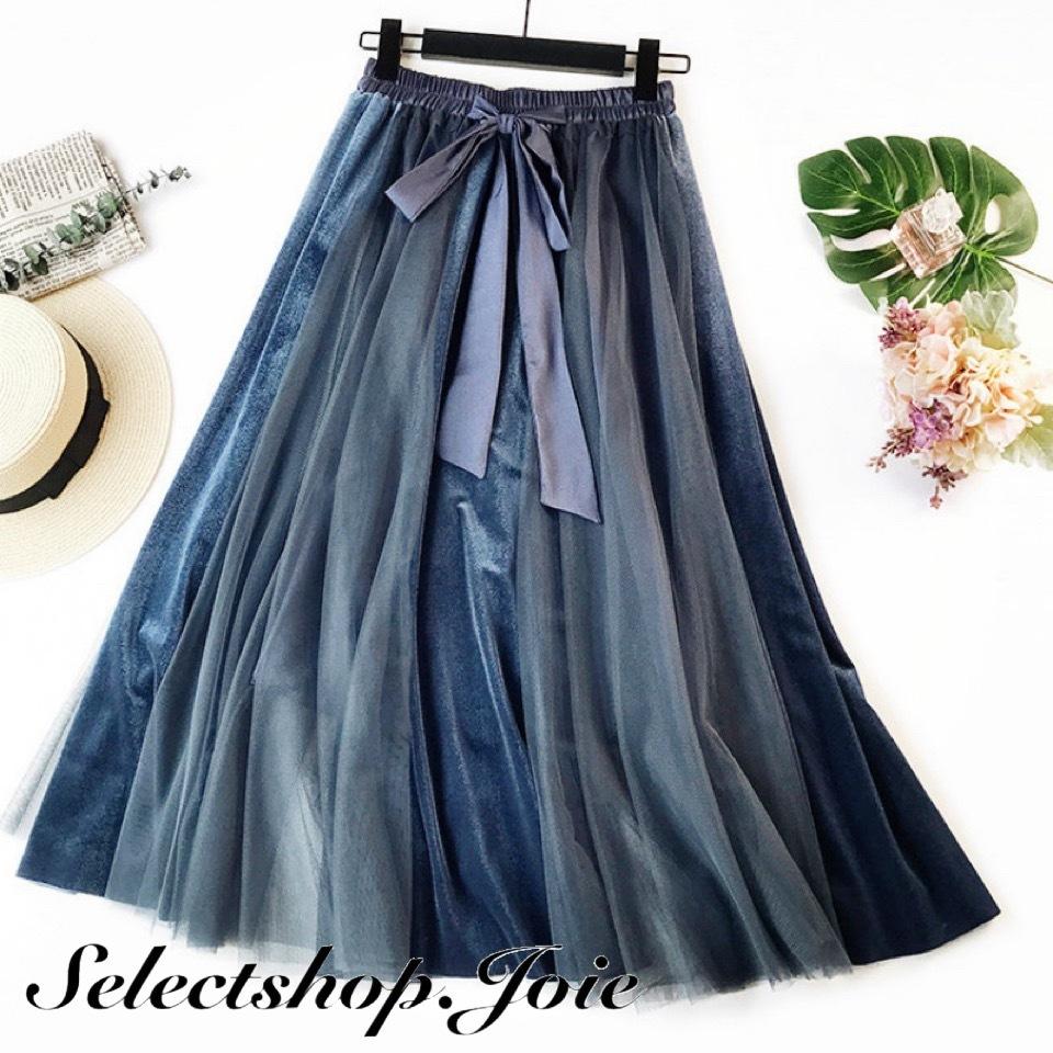 ウエストリボン メッシュミッドカーフスカート 2色展開