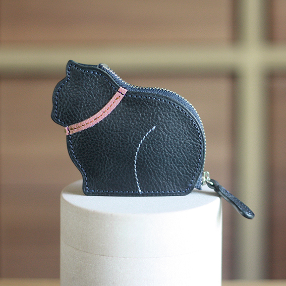 お座り子猫のコインケース・ネイビー ×ピンク