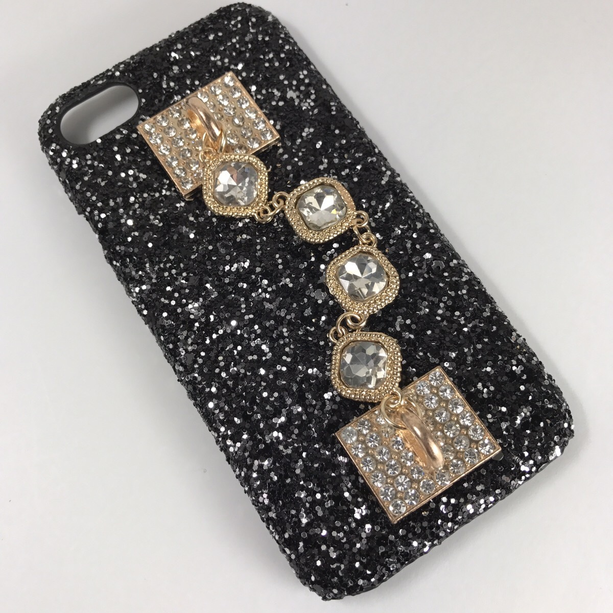 【送料無料】キラキラグリッターケースにシンプルジュエリーを iPhoneケース