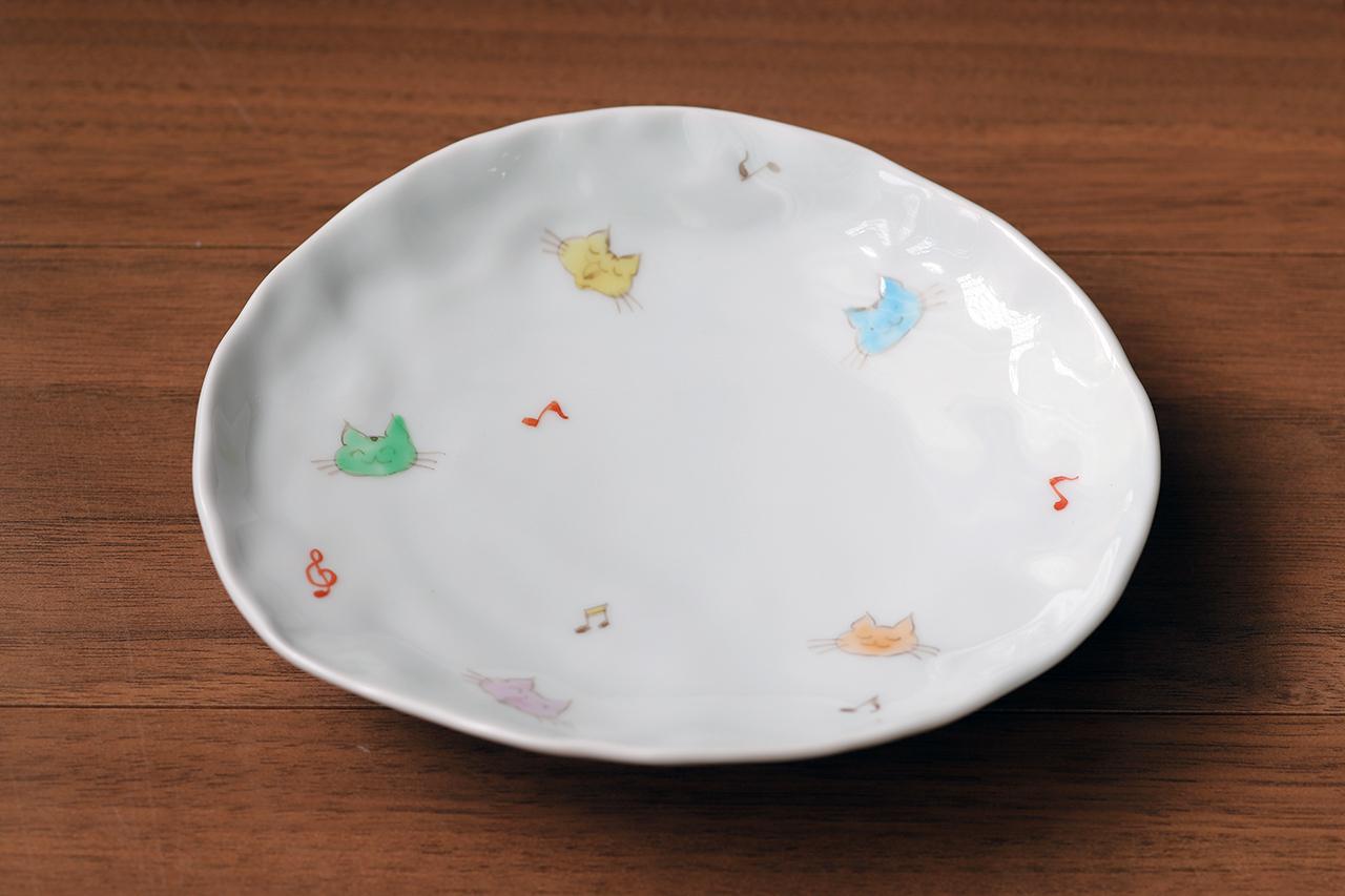 藍水 猫 変形皿 うつわ藍水 波佐見焼