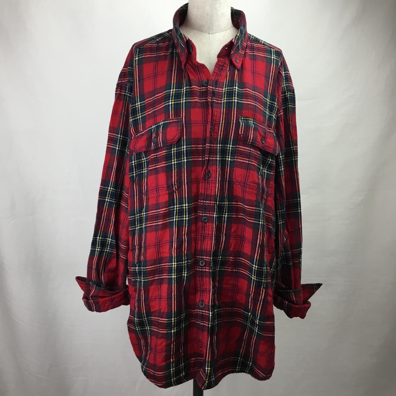 ヴィンテージフランネルシャツ(レッド×グレー)
