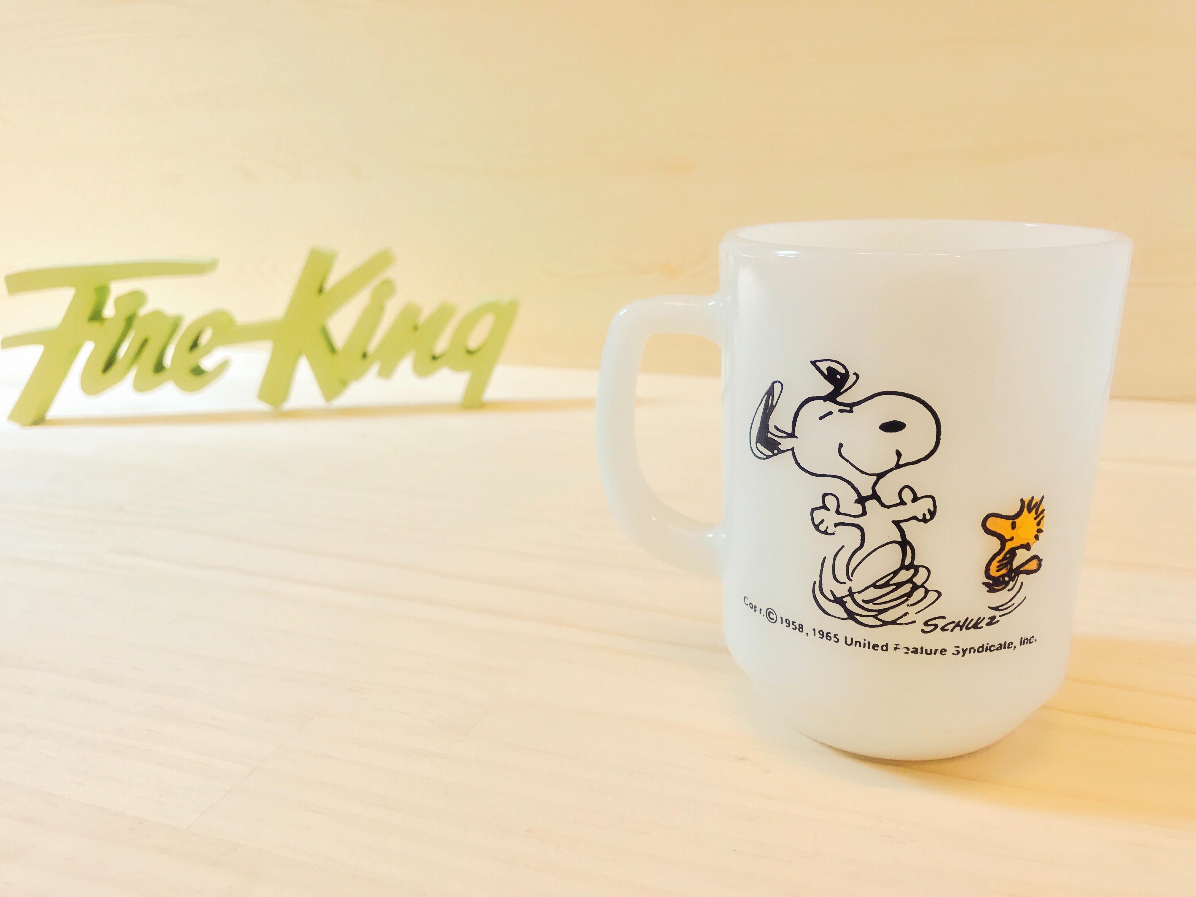 "[Fire King] スヌーピー ""ジョイ"" マグ ミルクガラス"