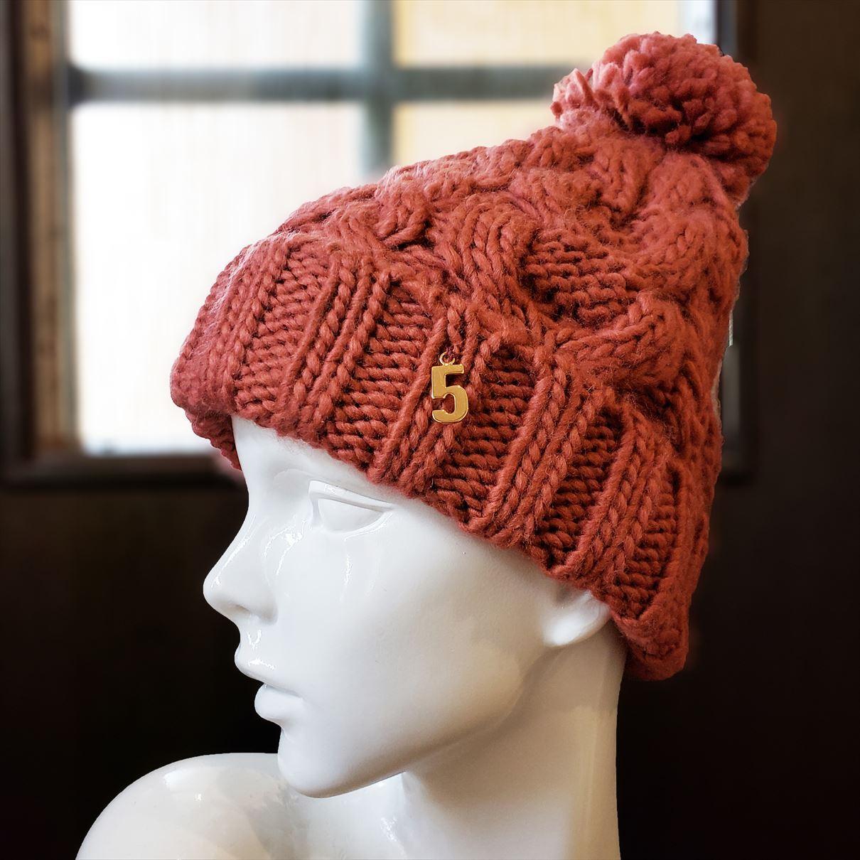 ナンバーニット帽(テラコッタ)