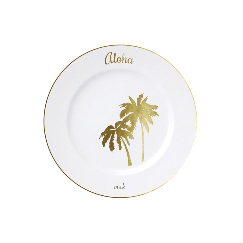 Aloha and Palm Tree Plate