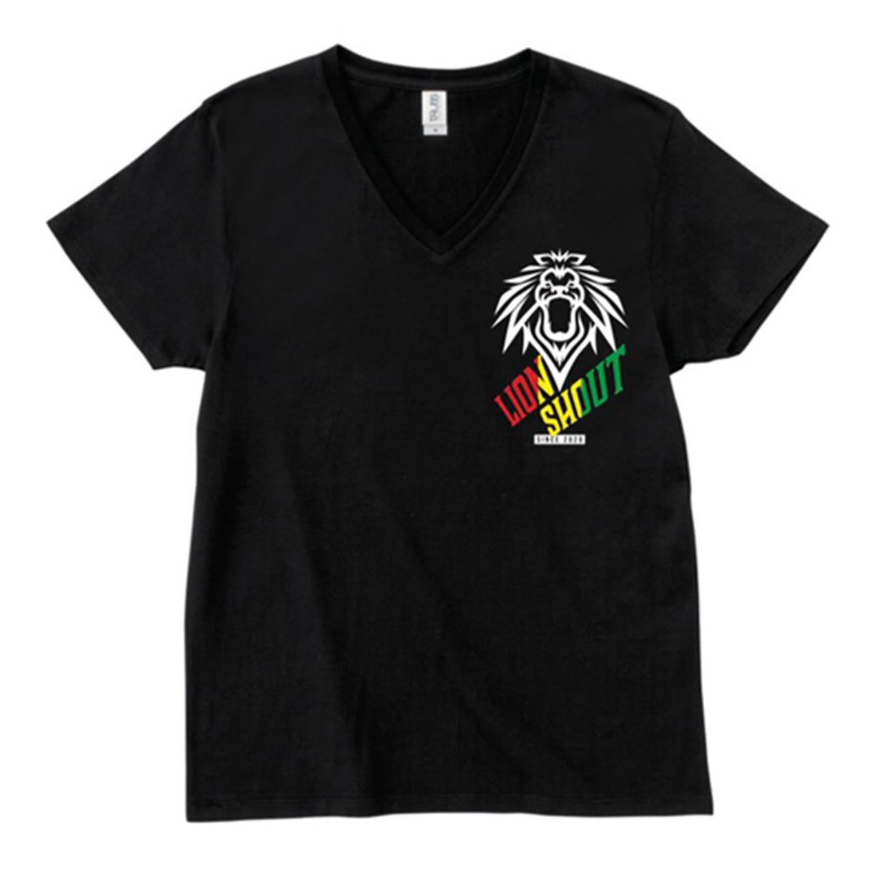 LION SHOUT Tシャツ【Vネック(黒)】