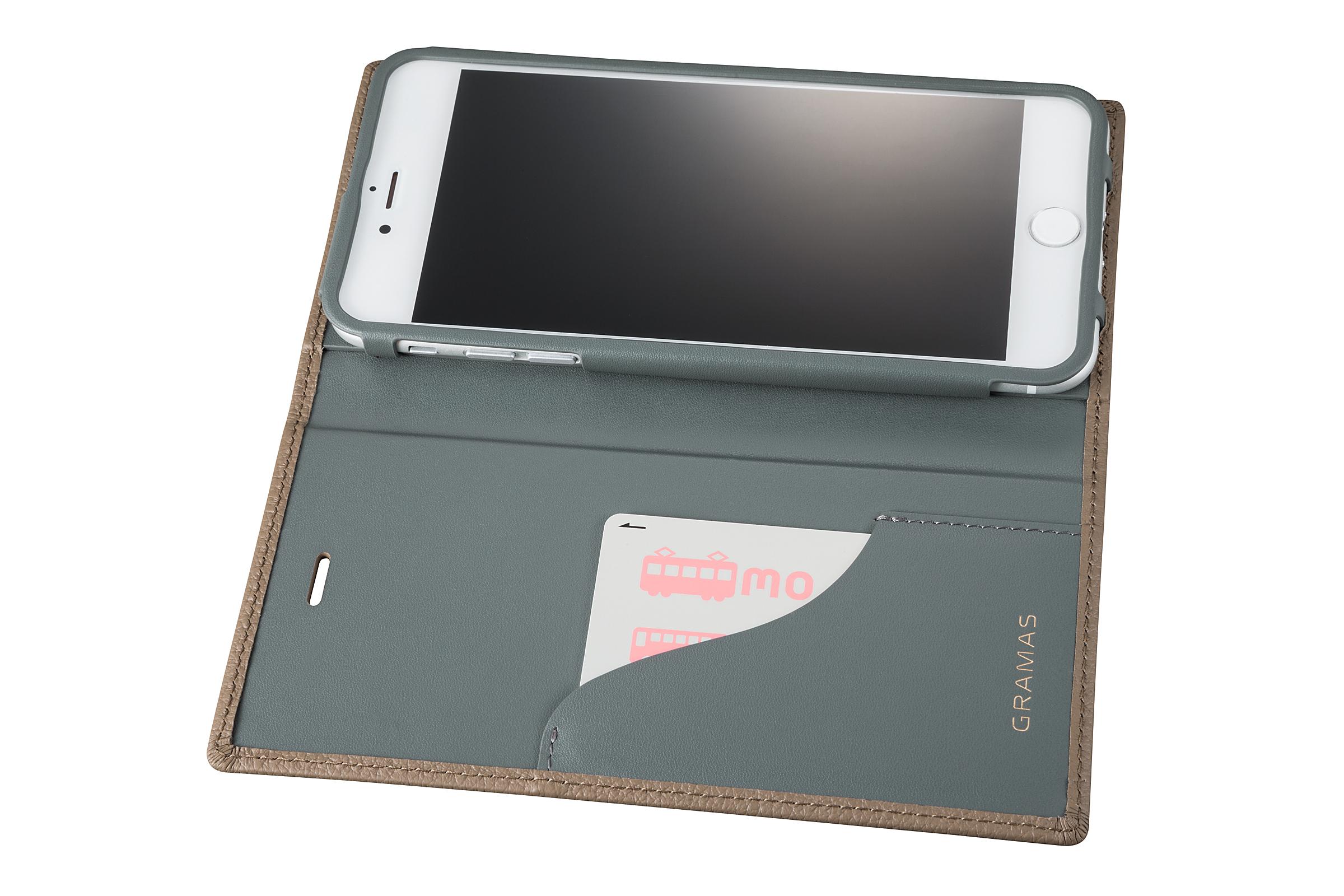 GRAMAS Shrunken-calf Full Leather Case for iPhone 7 Plus(Taupe(トープ)) シュランケンカーフ 手帳型フルレザーケース - 画像4