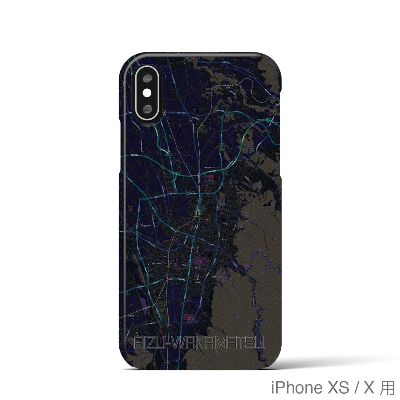 【会津若松】地図柄iPhoneケース(バックカバータイプ・ブラック)