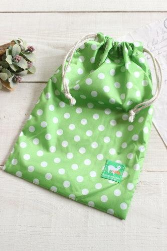 ナイロン巾着*ドット グリーン/A*K 型番: A29緑