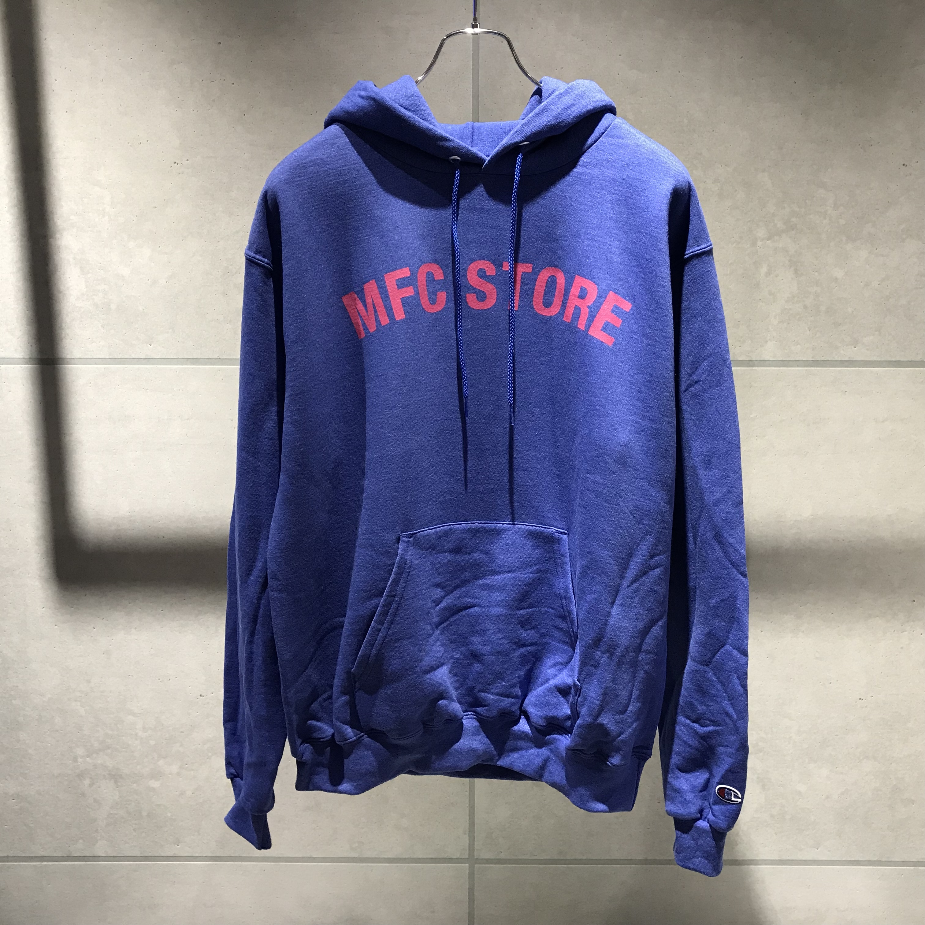 MFC STORE ARCH LOGO HOODED SWEAT SHIRT / ROYAL BLUE HATHER