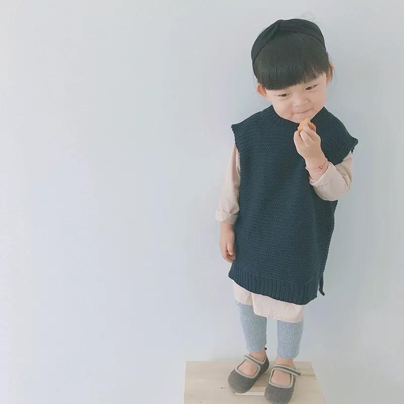 ロング丈シンプルニットベスト【581】