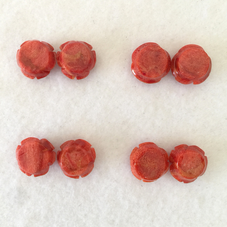 スポンジサンゴ バラ 約15ミリ ペアー 中間色【180018B】