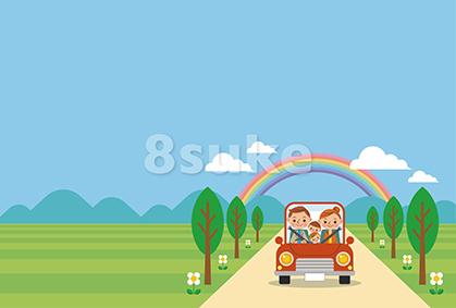 イラスト素材:ドライブを楽しむ家族/春・夏・ヨコ・青空バック(ベクター・JPG)
