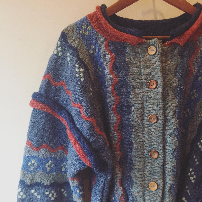 vintage wool design knit cardigan