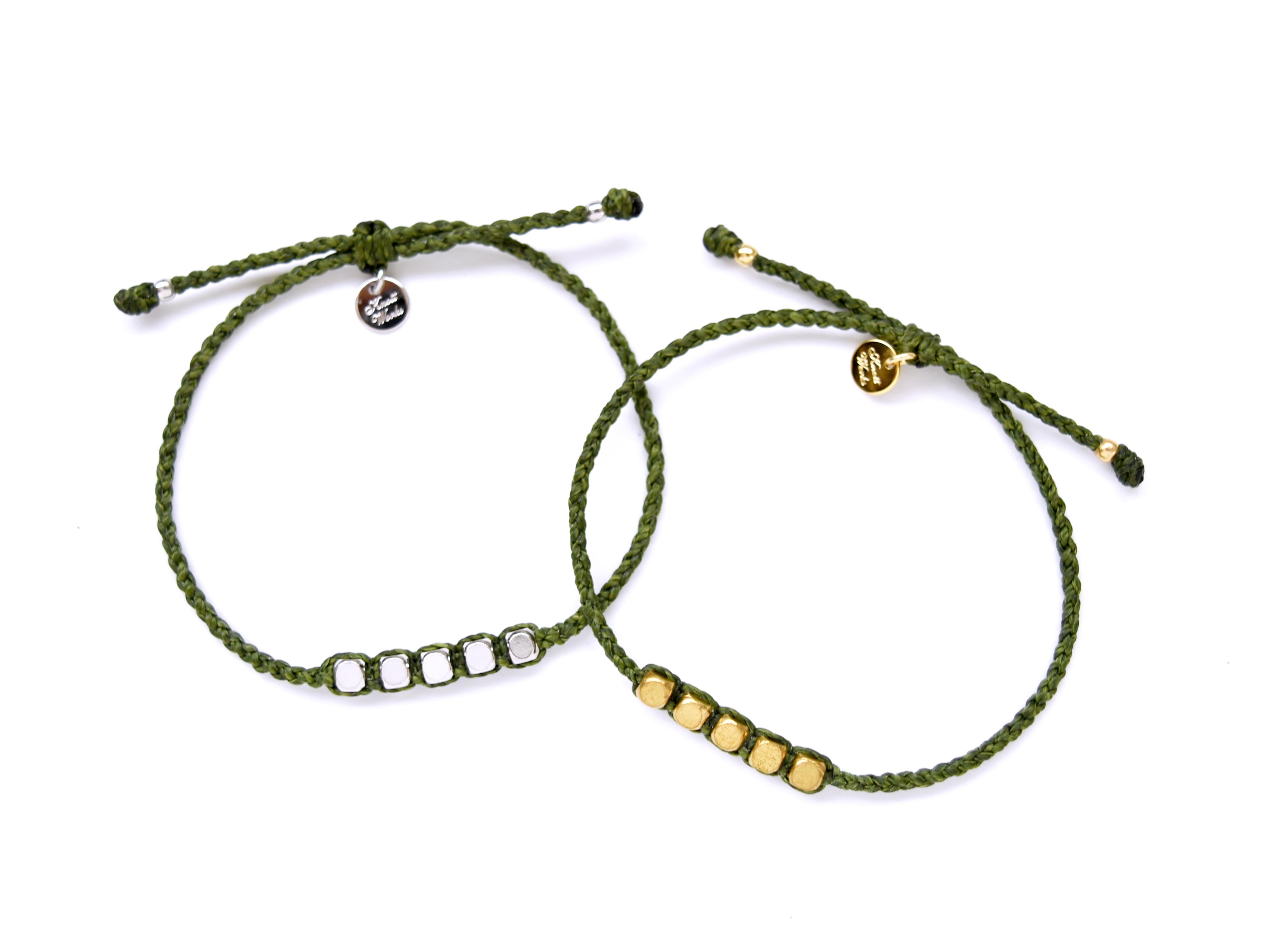 Brass Beads Bracelet/Khaki (Gold/Silver)[真鍮ブレスレット]