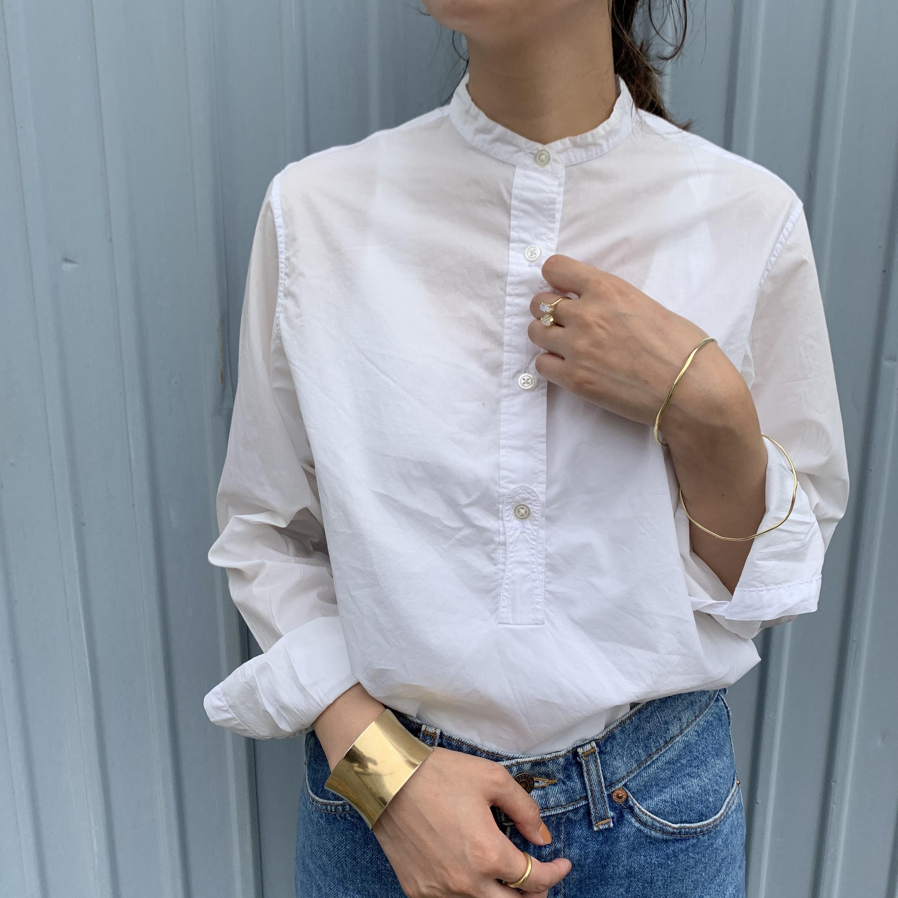 """【今だけ送料無料】USED """"MARGARET HOWELLスタンドカラーコットンシャツ"""""""