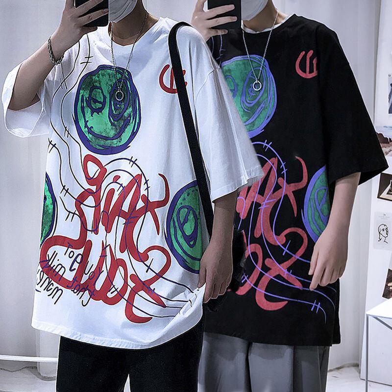 ユニセックス 半袖 Tシャツ メンズ レディース 落書き風 グラフィック プリント オーバーサイズ 大きいサイズ ルーズ ストリート