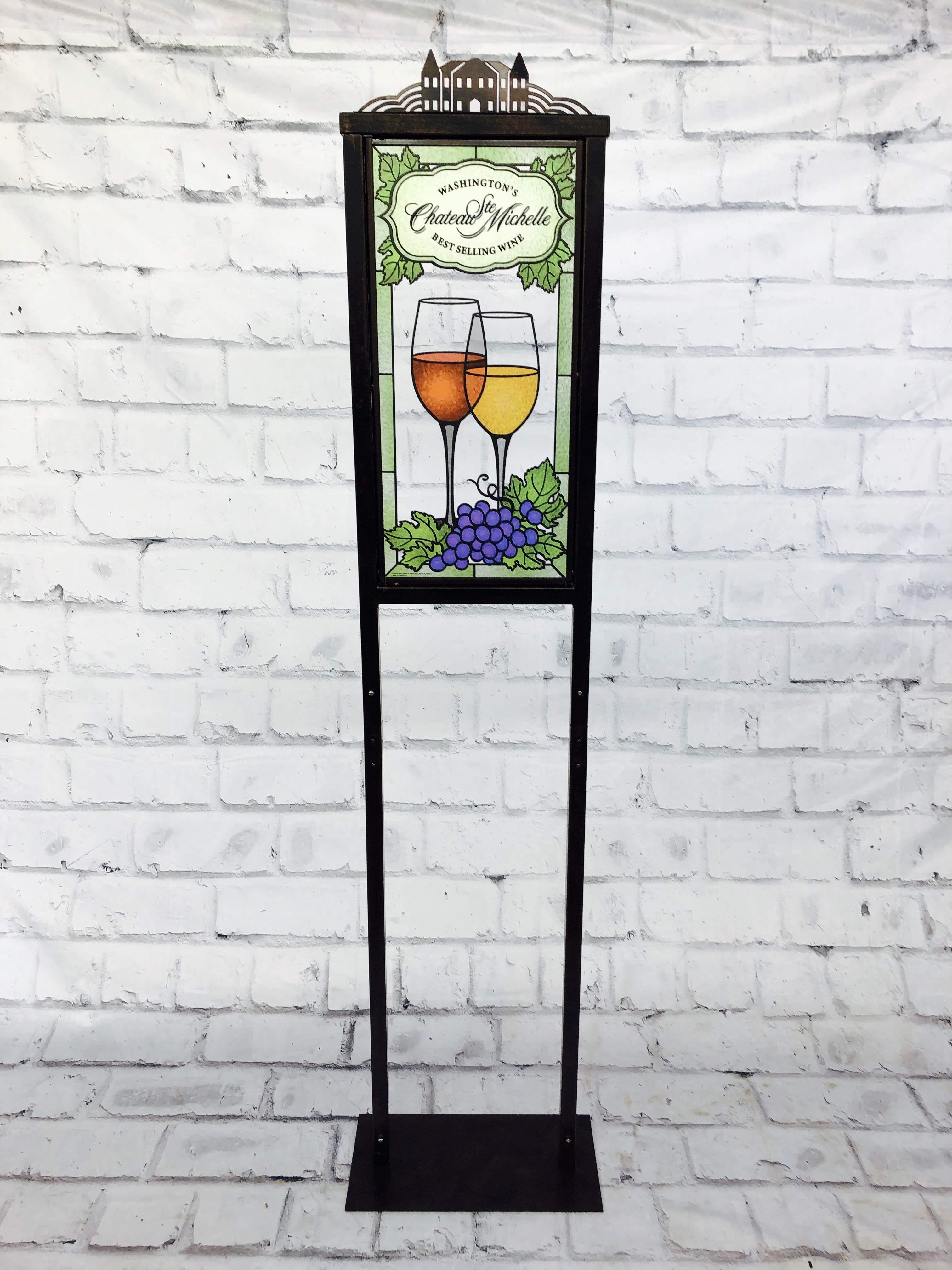 品番0309 サイン 『 Chateau Ste. Michelle(シャトー サン ミッシェル)』 ステンドグラス スタンド 壁掛 看板 アメリカン雑貨