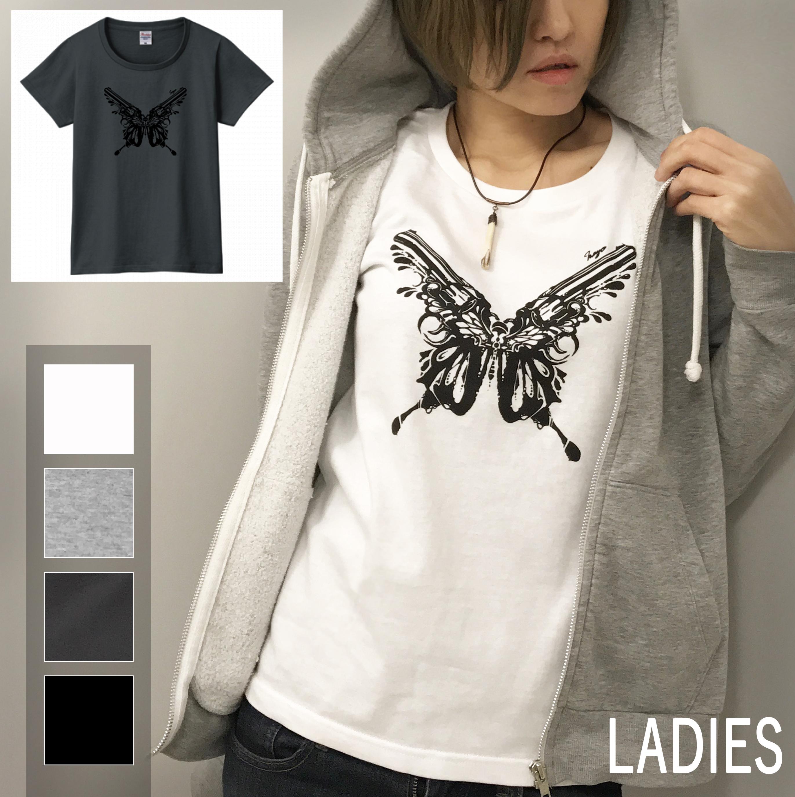 バタフライ×ガン T-shirt(レディース)